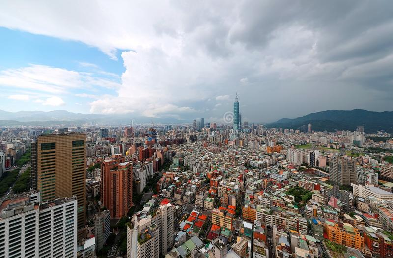 Aerial panorama wide angle view over Taipei, capital city of Taiwan, with Taipei 101 Tower among skyscrapers stock photo