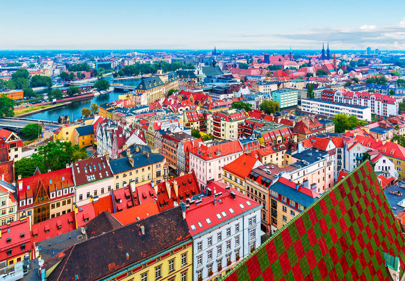 Aerial panorama of Wroclaw, Poland stock images