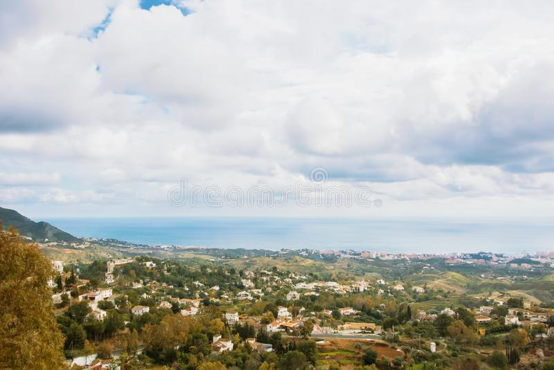 Aerial panoramic beautiful view from the park of Mijas, seascape stock photography