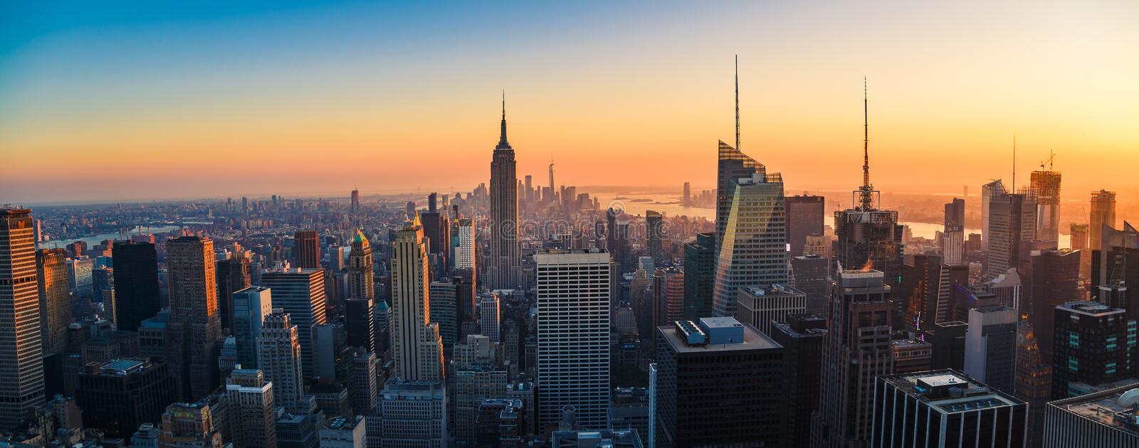 Aerial panoramic cityscape view of Manhattan, New York City at S stock photo