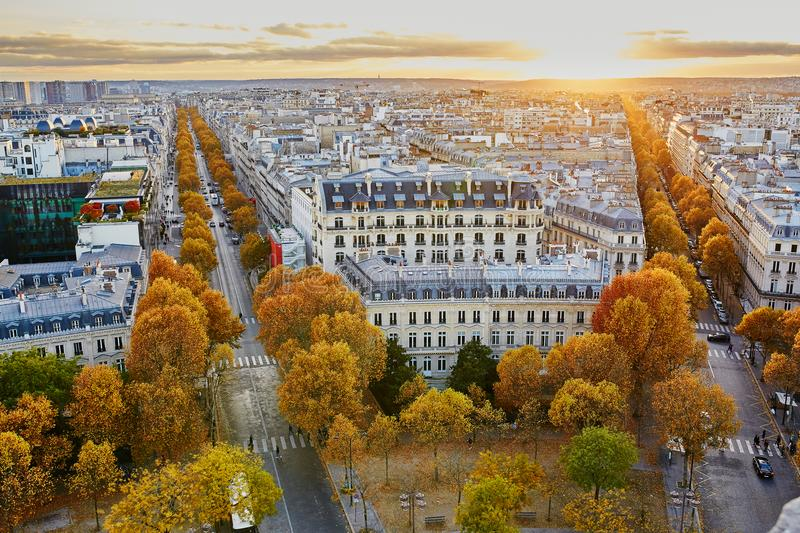 Aerial panoramic cityscape view of Paris, France royalty free stock photography