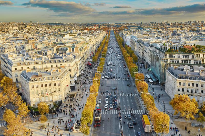 Aerial panoramic cityscape view of Paris, France stock photos