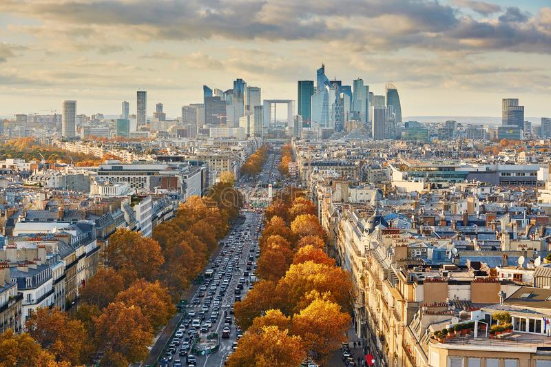 Aerial panoramic cityscape view of Paris, France royalty free stock images
