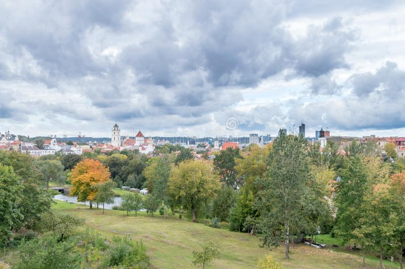 Aerial panoramic cityscape view of Vilnius in Lithuania.  royalty free stock photo