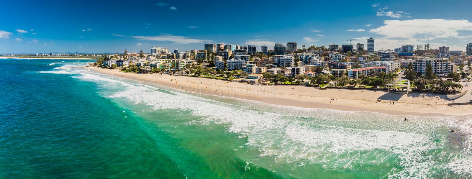 Aerial panoramic image of ocean waves on a Kings beach, Caloundra, Australia. Aerial panoramic image of ocean waves on a Kings beach, Caloundra, Queensland royalty free stock images