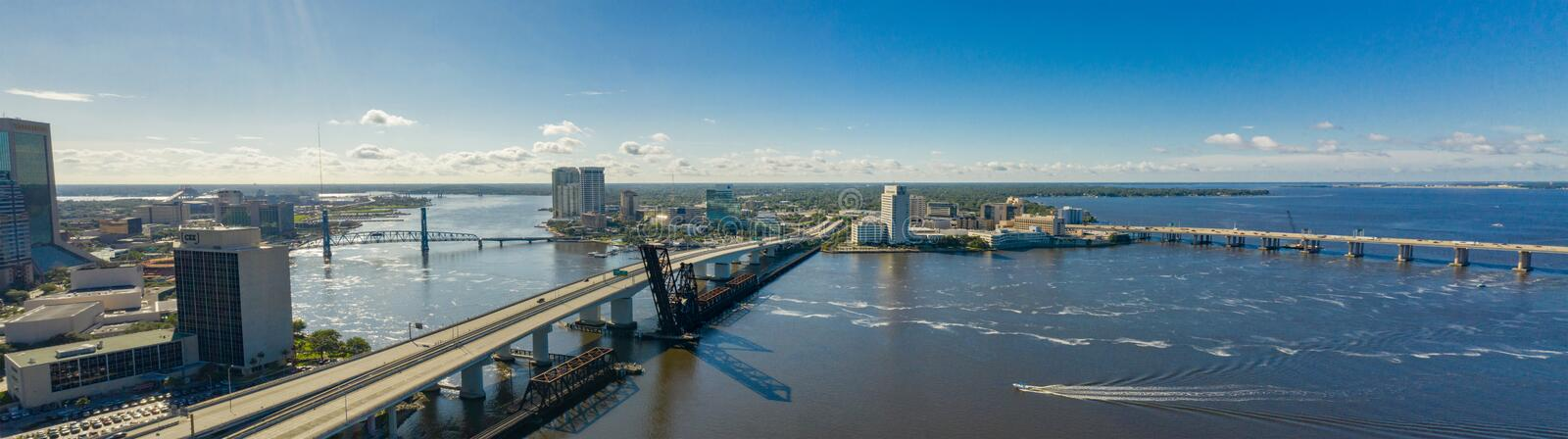 Aerial panoramic photo Downtown Jacksonville bridges over the St Johns River stock photo