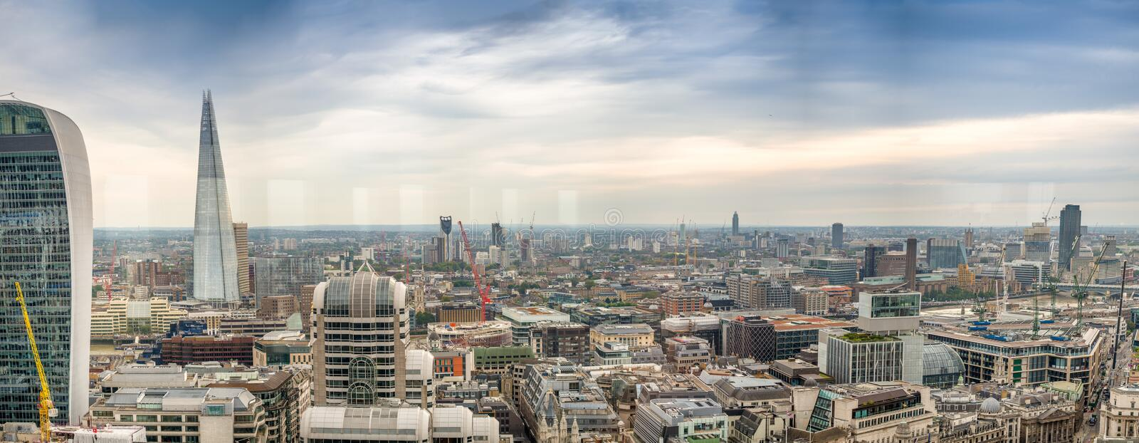 Aerial panoramic sunset view of London, Southern Side royalty free stock photos