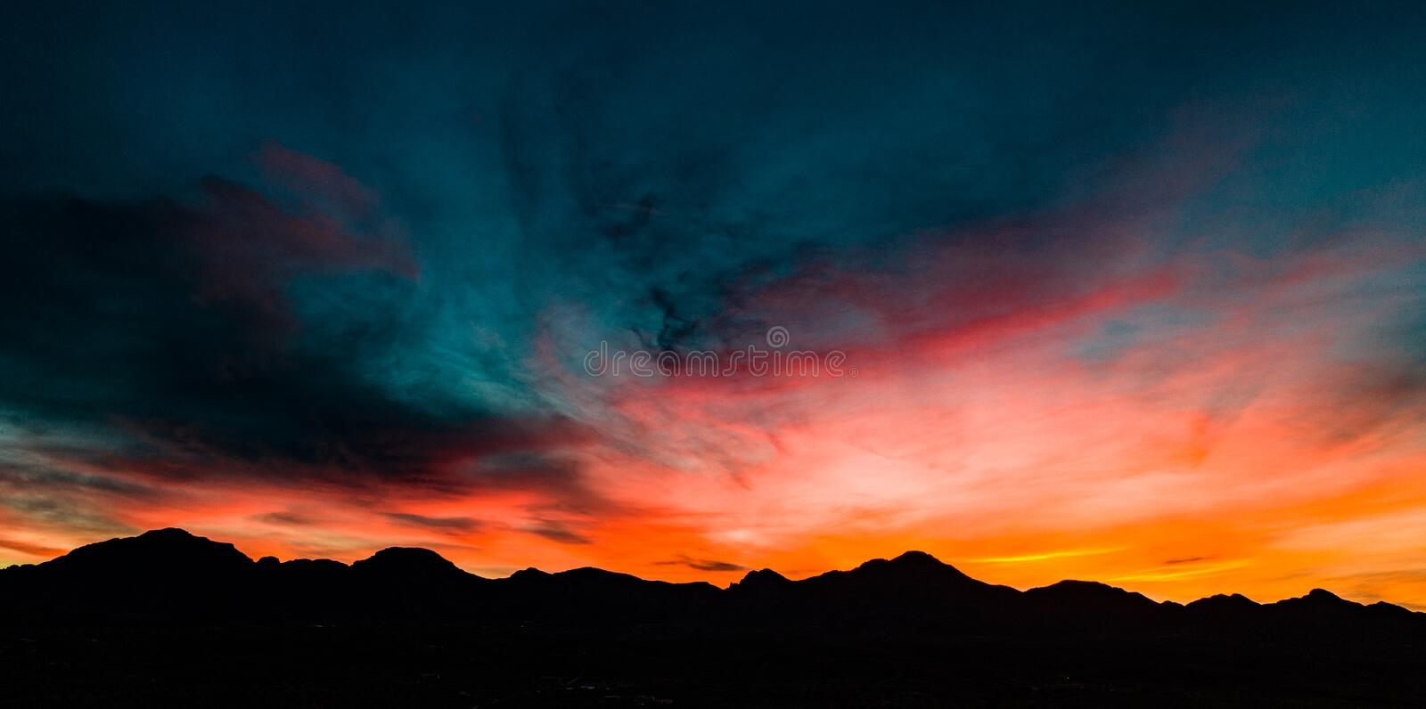 Aerial, Panoramic Sunset View Over Tubac Arizona stock image