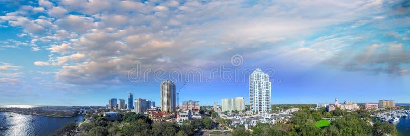 Aerial panoramic sunset view of Saint Petersburg, Florida royalty free stock images