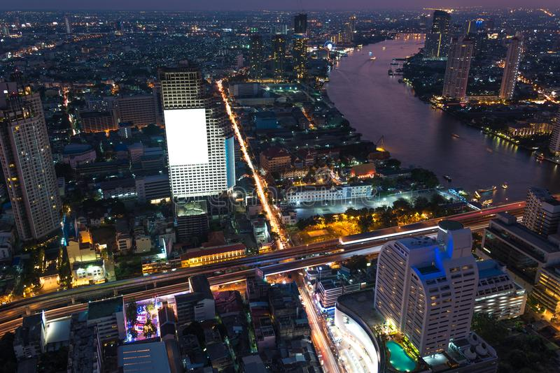 Aerial panoramic view of Bangkok city at night stock image