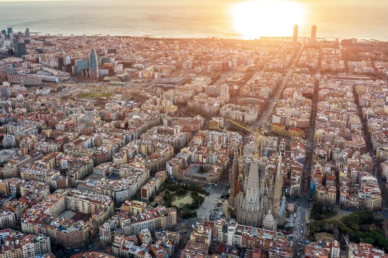 Aerial panoramic view of Barcelona Spain. Barceloneta, beach, sea, cathedral, historic center, gothic quarter royalty free stock photography