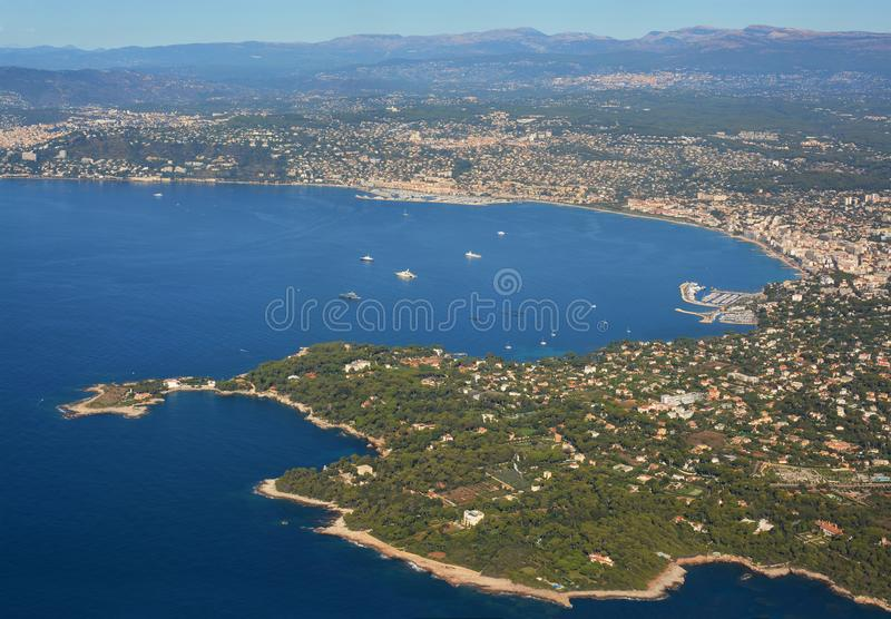 Aerial Panoramic View of Cannes City, Marina & Coast France stock photo