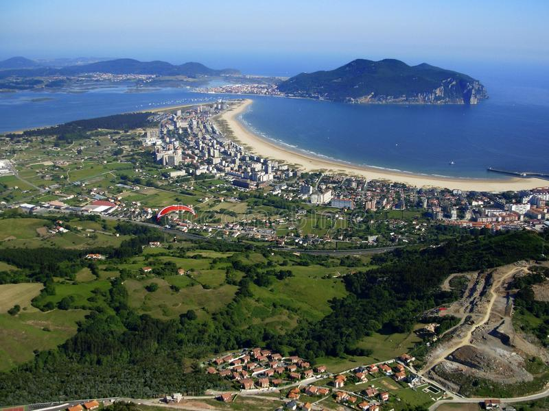 Aerial panoramic view of the Cantabrian town of Laredo. Panoramic aerial view of the Cantabrian town of Laredo, the sea and its extensive beach, Cantabria Spain stock photography
