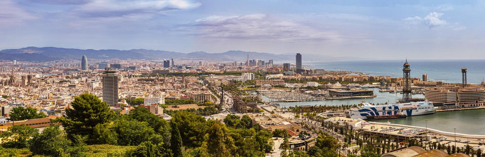 Aerial panoramic view of the city of Barcelona, Spain. stock photo