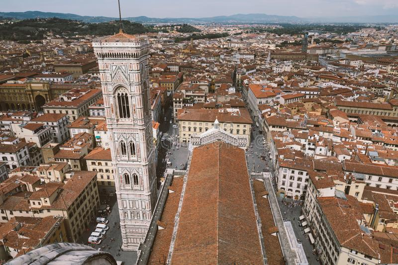Aerial panoramic view of city of Florence and Giotto's Campanile royalty free stock images