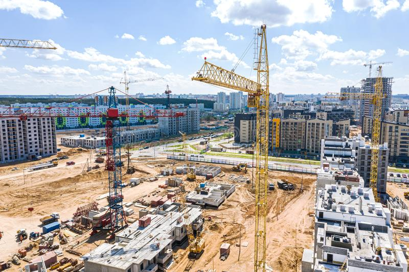 Aerial panoramic view of construction site with modern multistory apartment buildings stock photo