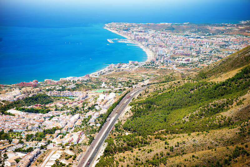 Aerial Panoramic View of Costa del Sol royalty free stock photography