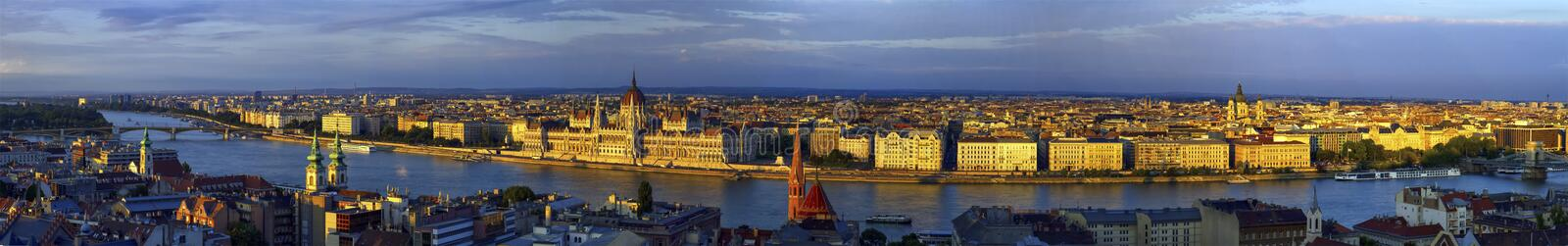 Aerial panoramic view of Danube and Budapest city, Hungary royalty free stock photography