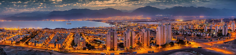 Aerial panoramic view on Eilat Israel and Aqaba Jordan cities stock photo