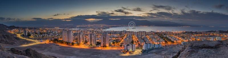 Aerial panoramic view on Eilat (Israel) and Aqaba (Jordan) royalty free stock photos