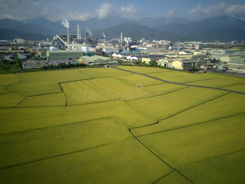 Aerial panoramic view of a factory with smoking chimneys by green rice paddies in Yilan Ilan stock images