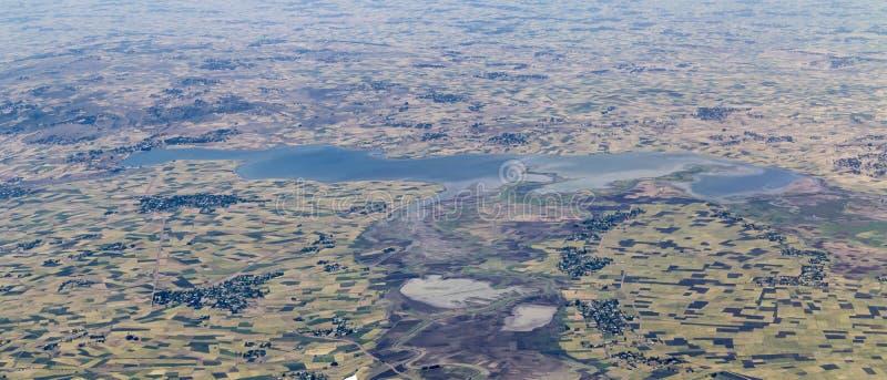 Aerial panoramic view of farmland in Ethiopia stock image