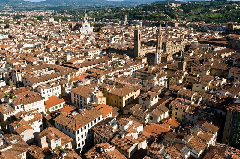 An aerial panoramic view of Florence from the top of the Campanile - Florence, Tuscany, Italy stock image