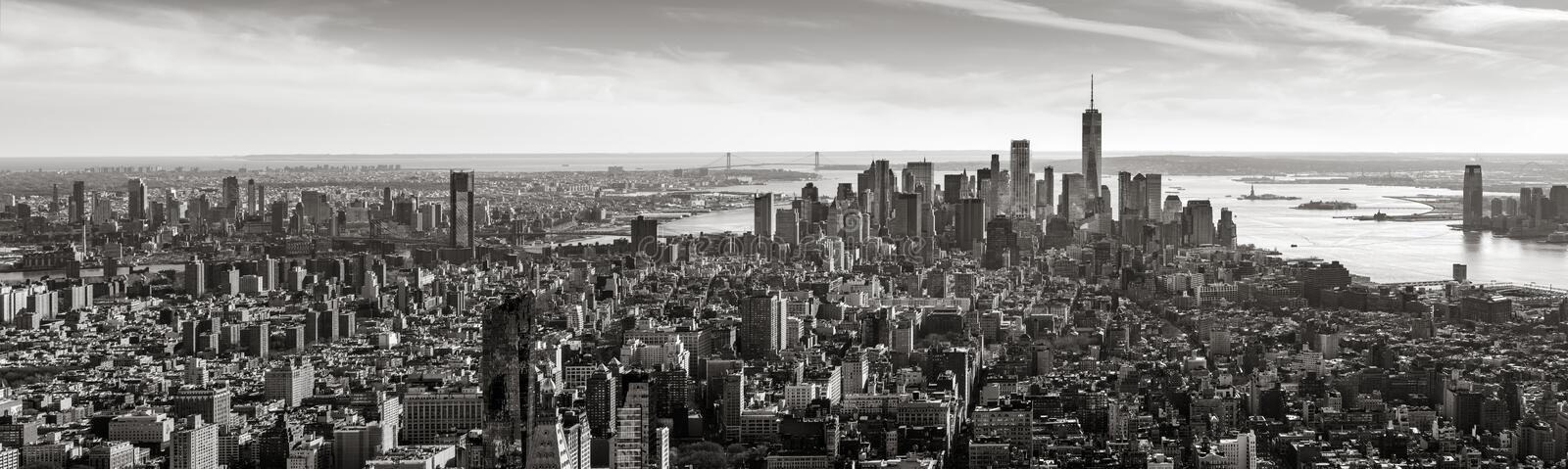 Aerial panoramic view of Lower Manhattan in Black & White, New York City. Aerial panoramic view of Lower Manhattan in Black and White. The view includes stock photos