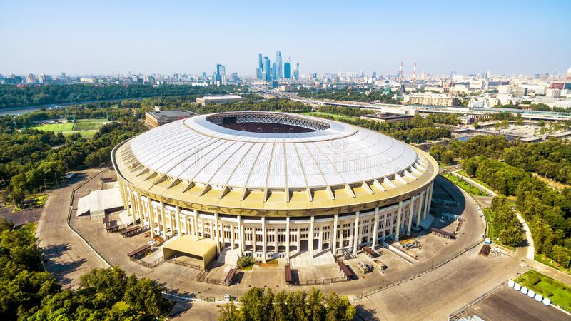 Aerial panoramic view of Luzhniki Stadium in Moscow royalty free stock image