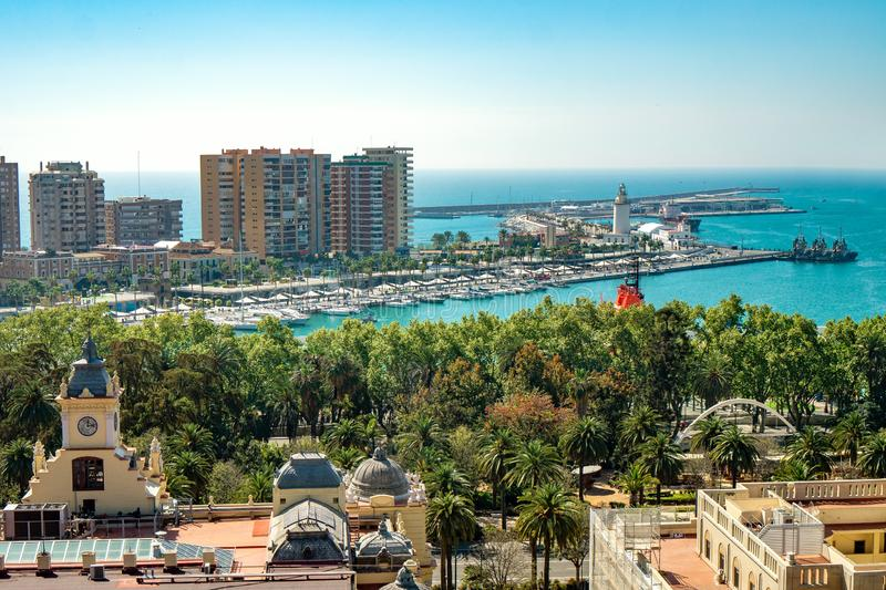 Aerial panoramic view of Malaga city, Andalusia, Spain in a beautiful summer day with the town hall the port and the sea stock image