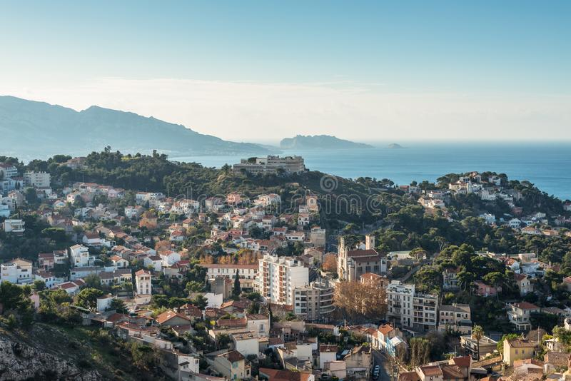 View of Marseille from basilica Notre-Dame de la Garde, France stock photography