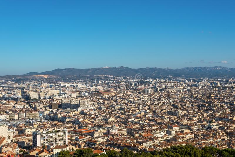 View of Marseille from basilica Notre-Dame de la Garde, France stock photo
