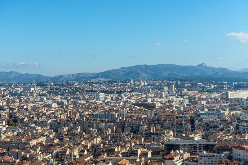 View of Marseille from basilica Notre-Dame de la Garde, France royalty free stock photos
