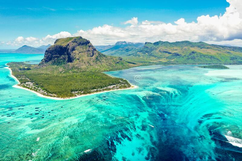Aerial panoramic view of Mauritius island - Detail of Le Morne Brabant mountain with underwater waterfall perspective stock photo