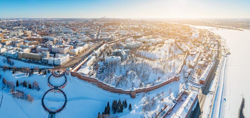 Aerial panoramic view of Nizhny Novgorod, Russia stock images