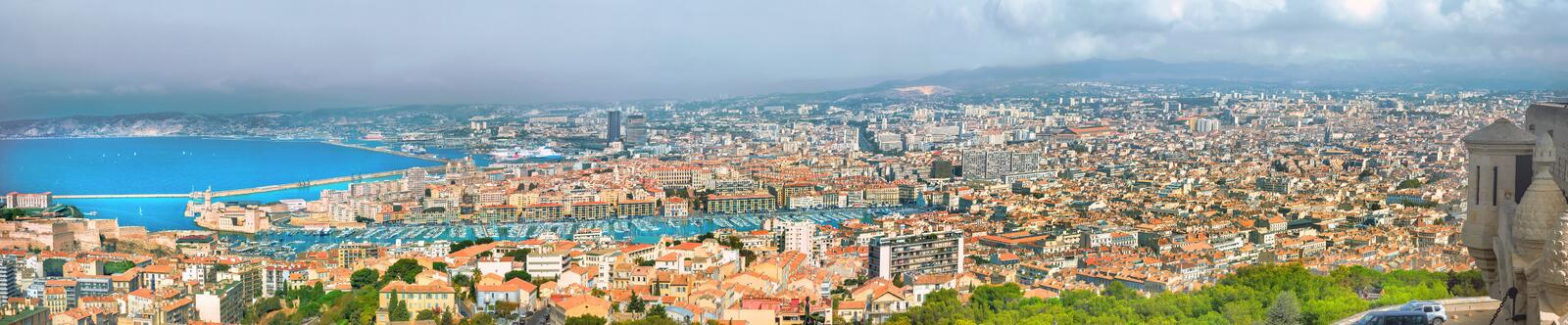 Aerial panoramic view of old port and Marseille city. France stock photography