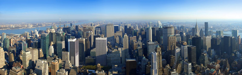 Aerial panoramic view over Manhattan, New York royalty free stock image