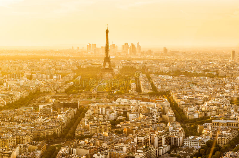 Aerial panoramic view of Paris with the Eiffel tower royalty free stock photography