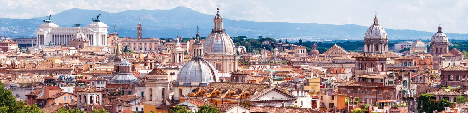 Aerial panoramic view of Rome, Italy royalty free stock photo