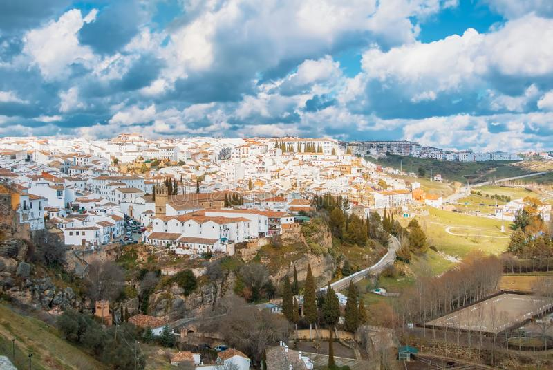 Aerial panoramic view of Ronda, tradational white houses with ti royalty free stock images