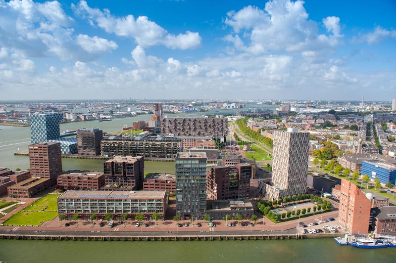 Aerial panoramic view of Rotterdam, The Netherlands, Holland stock photos