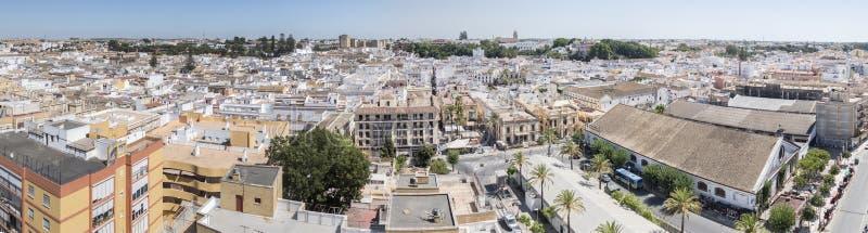 Aerial panoramic view of Sanlucar de Barrameda, Cadiz, Spain stock image