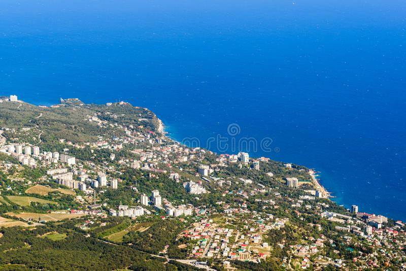 Aerial panoramic view of the seaside city, Crimea royalty free stock image