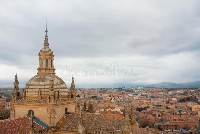 Aerial panoramic view of Segovia historic sity center of old tow royalty free stock images