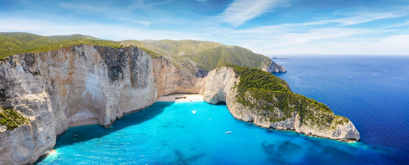 Aerial panoramic view of the shipwreck beach at Zakynthos island, Ionian Sea, Greece royalty free stock photo