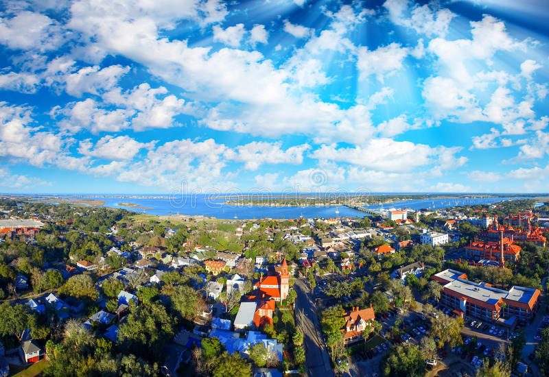 Aerial panoramic view of St Augustine, Florida.  royalty free stock image