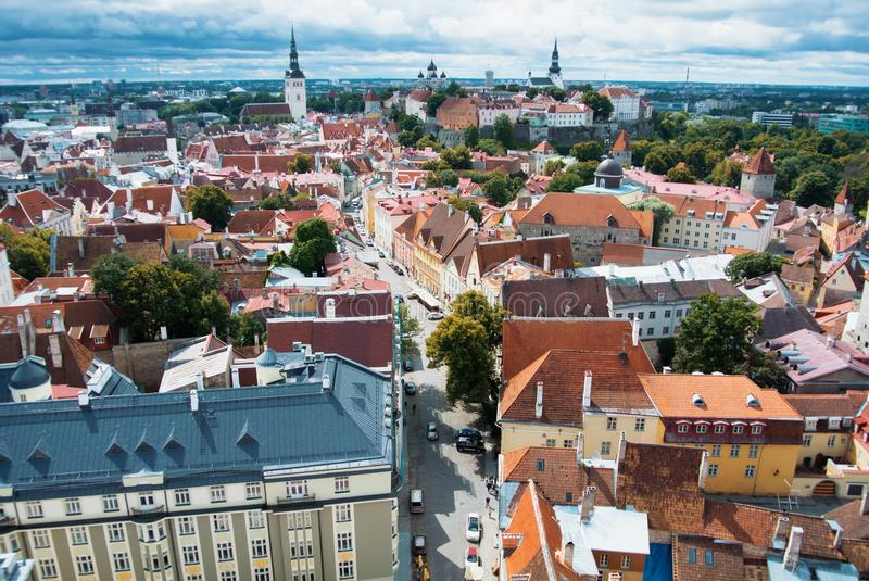 Aerial panoramic view of Tallinn old town city center and narrow stock photos