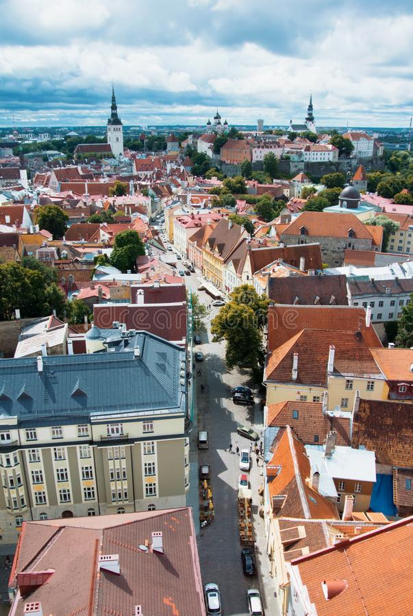 Aerial panoramic view of Tallinn old town city center and narrow stock photography