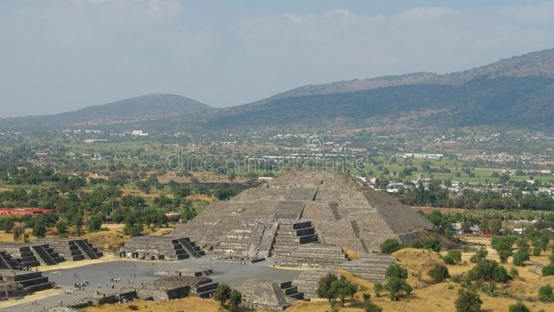 Aerial panoramic view to Pyramid of the Moon, Teotihuacan, Mexico stock photos