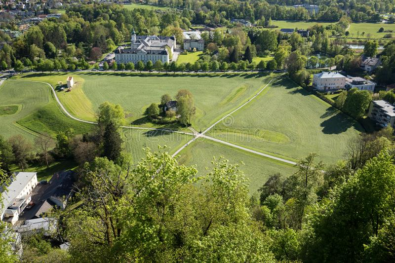 Aerial panoramic view from the top of Hohensalzburg fortress Castle on cultivated land divided by the crossing ways roads. Sal. Zburg, Austria stock images